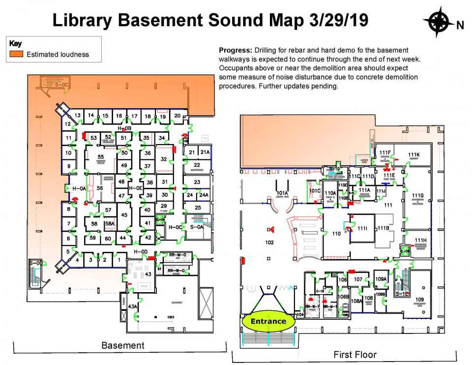 Sound Map of Library Seismic Renovation Noise