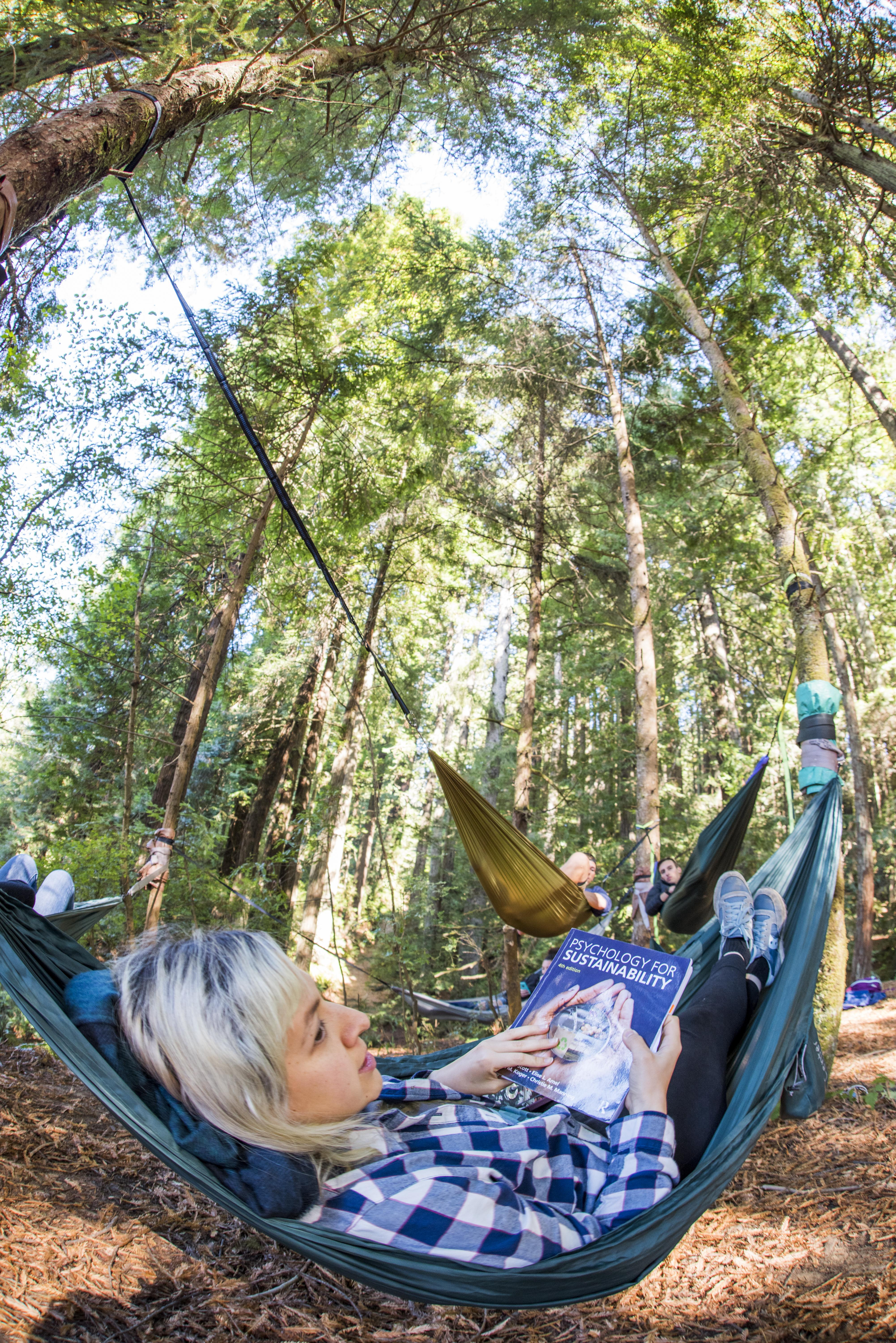 Psychology for Sustainability, student in hammock with book
