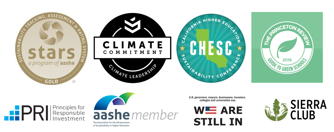 Points of pride graphic includes logos for STARS Gold, 2nd Nature Climate Commitment, CHESC, Princeton Review, Principles of Responsible Investment, AASHE Membership, We Are Still In President's Commitment, Sierra Club Cool Schools