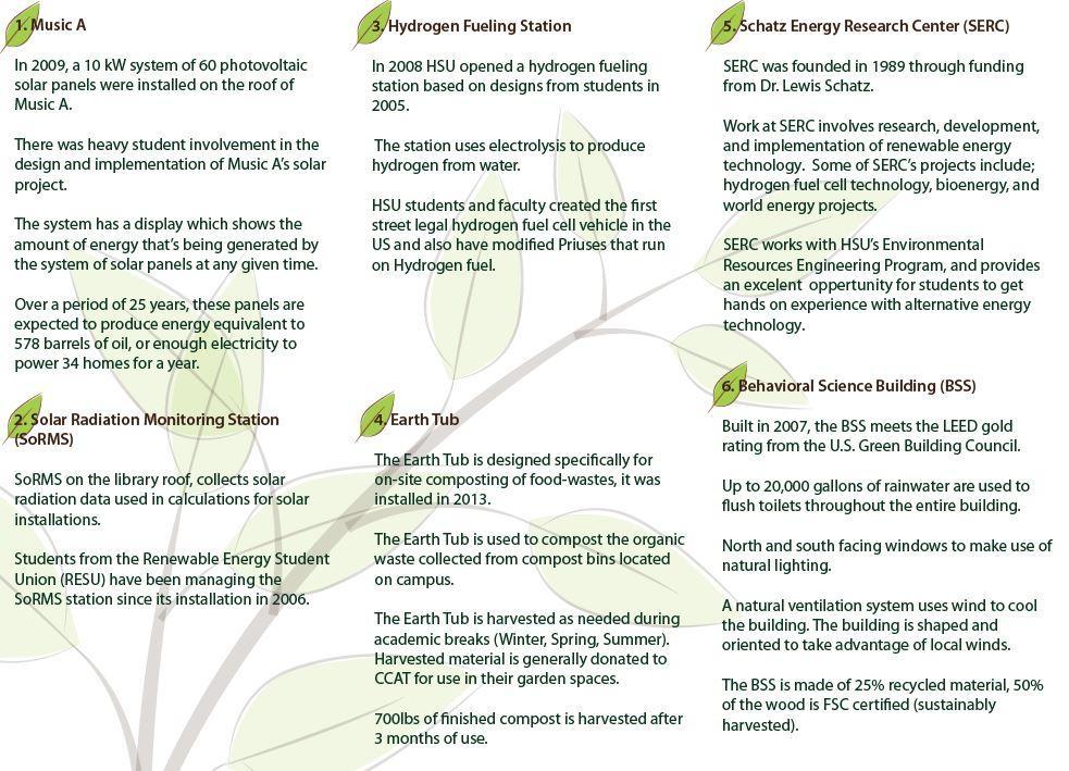 HSU Self-Guided Sustainability Tour Tri-fold page 2