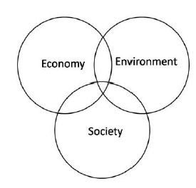 Overlapping circles showing relationships between economy, environment, and society