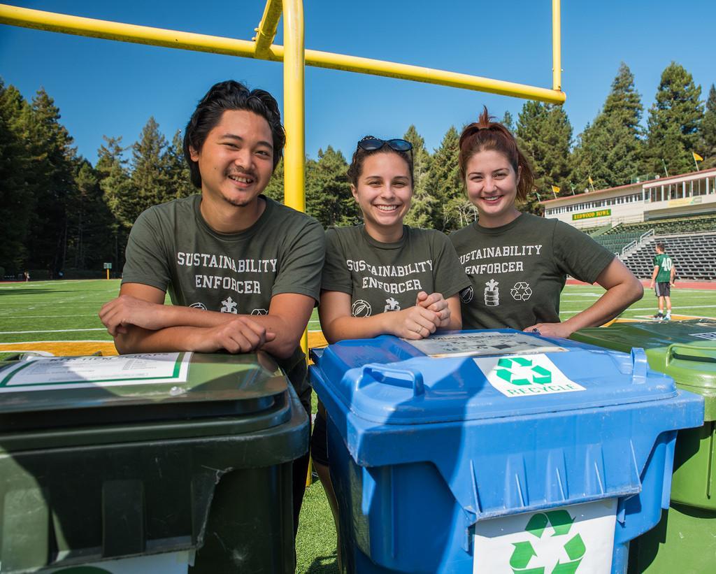 Photo of WRRAP students at waste bins