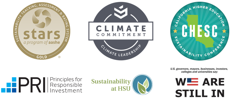 Logos for STARS Gold rating, Climate Commitment, We are still in, Principles for Responsible Investment, and CA Higher Ed Best Practice Awards