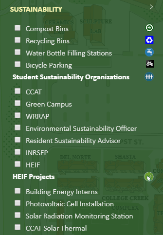 Screen capture of legend for HSU Sustainability Map
