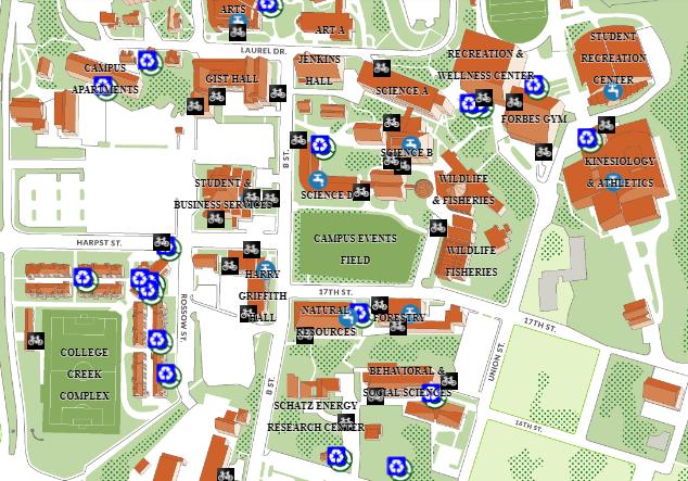 Screen capture of HSU Sustainability Map